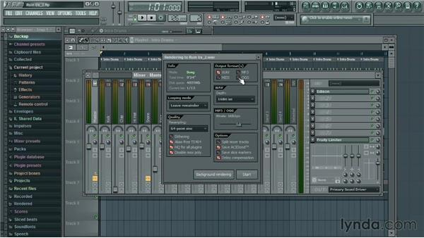 Exporting the final product: Up and Running with FL Studio