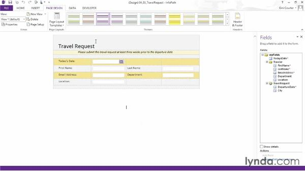 Choosing a theme: InfoPath 2013 Essential Training