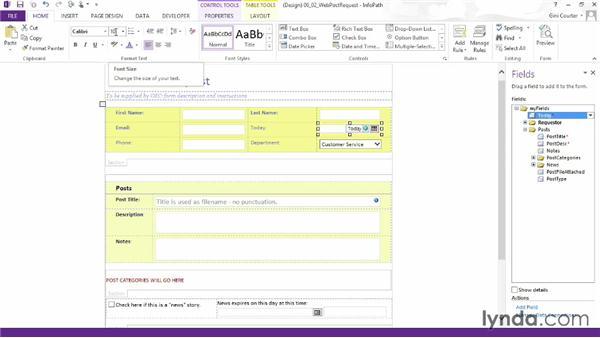 Formatting controls: InfoPath 2013 Essential Training