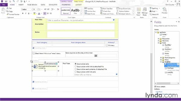 Using the file attachment control: InfoPath 2013 Essential Training