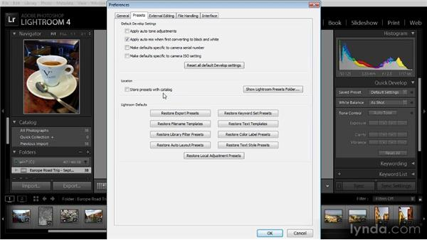 Establishing Lightroom preferences: Getting Started with Lightroom 4