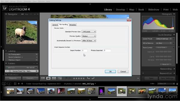 Catalog settings: Getting Started with Lightroom 4