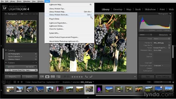 Keyboard shortcuts: Getting Started with Lightroom 4