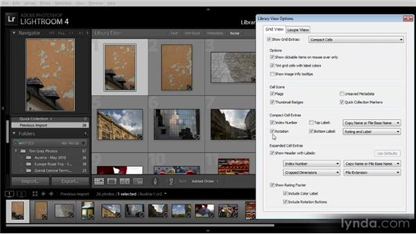 Setting view options: Getting Started with Lightroom 4