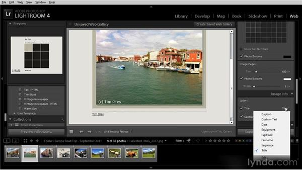 Creating a web gallery: Getting Started with Lightroom 4