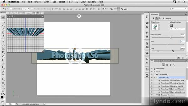 Live extrusions and shadows and reflections in the viewport: Photoshop CS6 New Features Overview