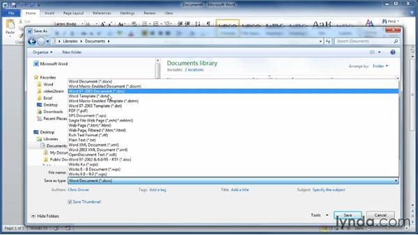 Saving Word documents to different formats: Learning Word 2010