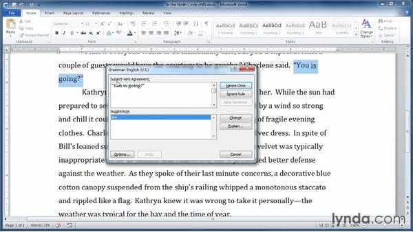 Checking spelling and grammar: Learning Word 2010