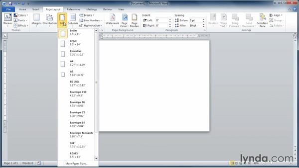 Choosing page orientation and size: Learning Word 2010
