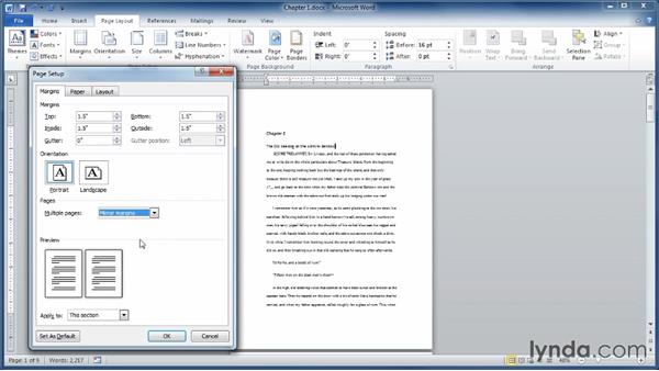 Setting up margins: Learning Word 2010
