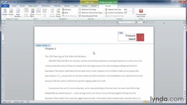 Setting up headers, footers, and page numbers: Learning Word 2010