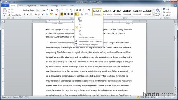 Setting line spacing and paragraph spacing: Learning Word 2010