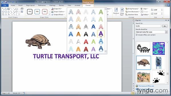 Working with WordArt: Learning Word 2010