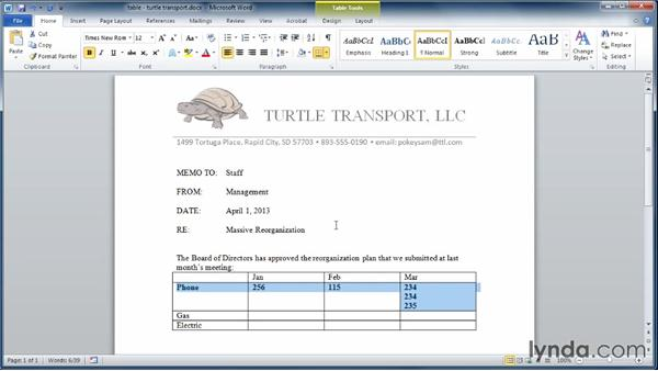 Adding tables to documents: Learning Word 2010