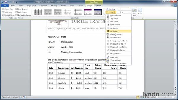 Editing tables: Learning Word 2010