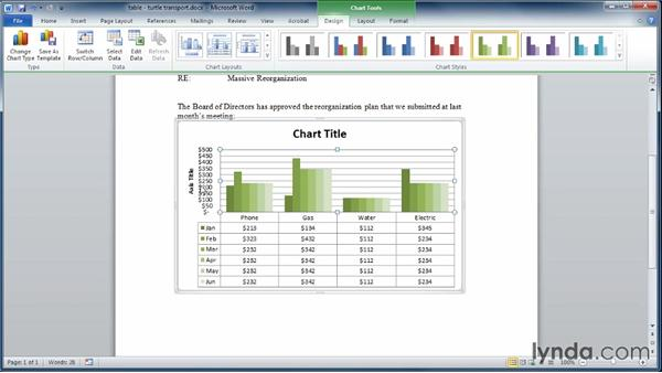 Formatting charts: Learning Word 2010