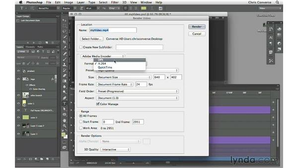 Rendering video from Photoshop: Design the Web: Video Graphics and Animation