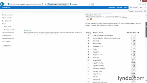 Changing SharePoint library views for InfoPath forms: InfoPath 2013 Essential Training