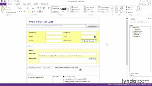 Modifying a form library template: InfoPath 2013 Essential Training