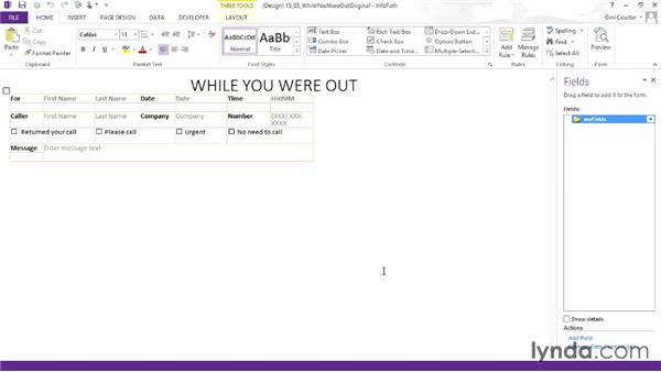 Importing a Word form: InfoPath 2013 Essential Training