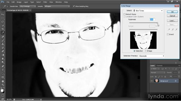 Selecting faces with the Color Range command: Photoshop CS6 Selections and Layer Masking Workshop