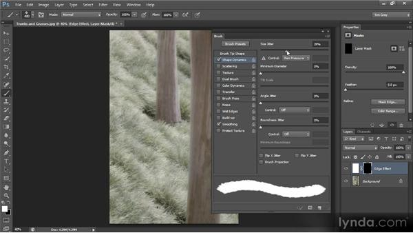 Using a brush effect to add an artistic edge: Photoshop CS6 Selections and Layer Masking Workshop