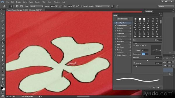 Adjusting brush shapes: Photoshop CS6 Image Cleanup Workshop