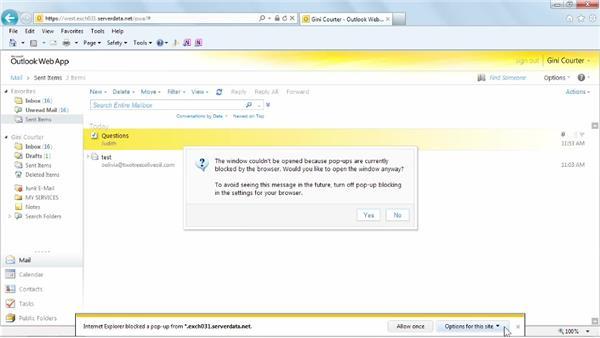 Sending a message: Outlook Web App (OWA) 2010 Essential Training