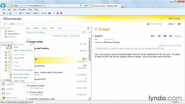 Creating an inbox folder: Outlook Web App (OWA) 2010 Essential Training