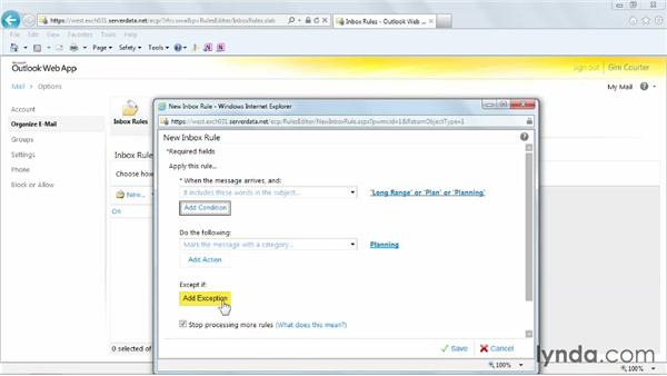 Creating inbox rules: Outlook Web App (OWA) 2010 Essential Training
