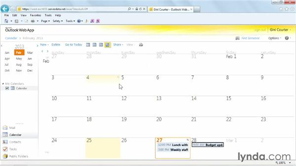 Viewing and printing calendars: Outlook Web App (OWA) 2010 Essential Training