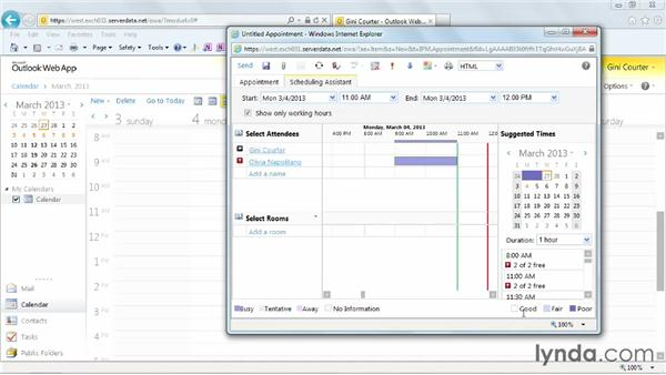 Creating a meeting: Outlook Web App (OWA) 2010 Essential Training