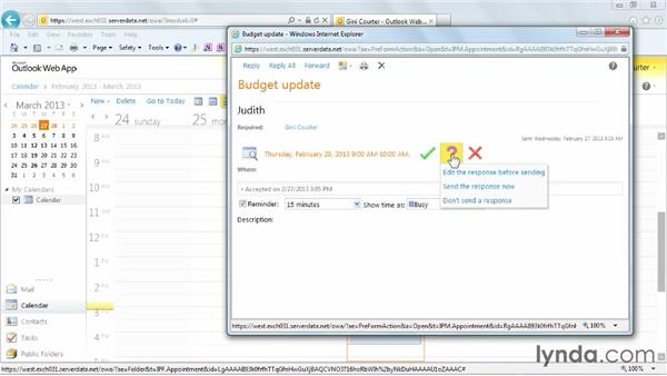 Responding to a meeting invitation: Outlook Web App (OWA) 2010 Essential Training