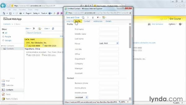 Creating a contact: Outlook Web App (OWA) 2010 Essential Training