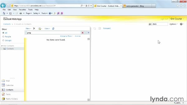 Searching for a person: Outlook Web App (OWA) 2010 Essential Training