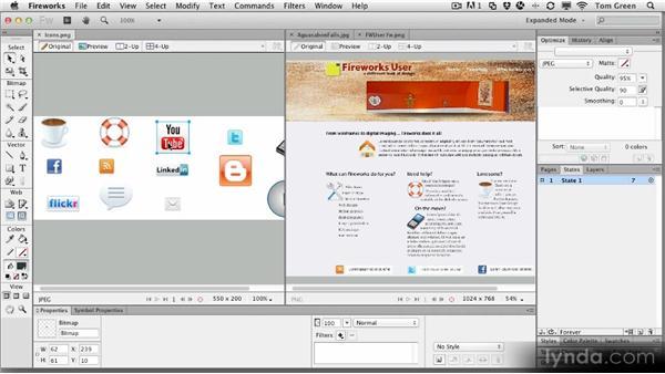 Using the document tabs: Fireworks CS6 Workshop