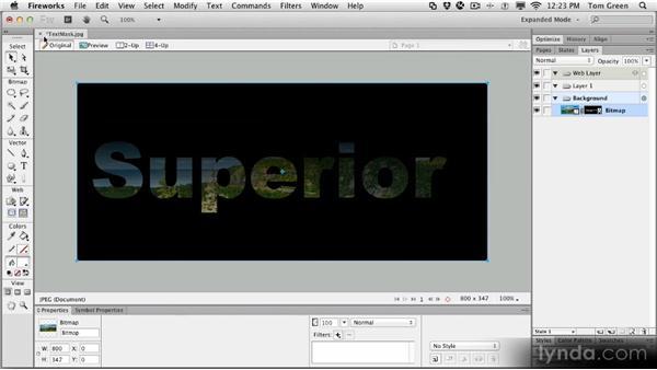 Creating a text mask: Fireworks CS6 Workshop