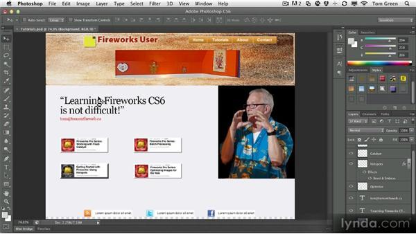 Importing Photoshop documents: Fireworks CS6 Workshop