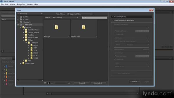 Browsing footage: Prelude CS6 Workshop