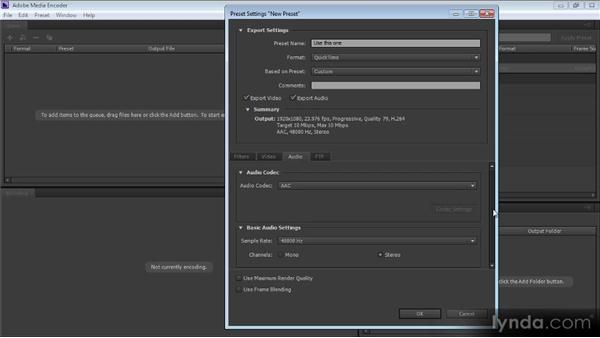 Creating a preset with Adobe Media Encoder: Prelude CS6 Workshop