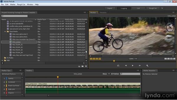 Browsing selected footage inside Prelude: Prelude CS6 Workshop