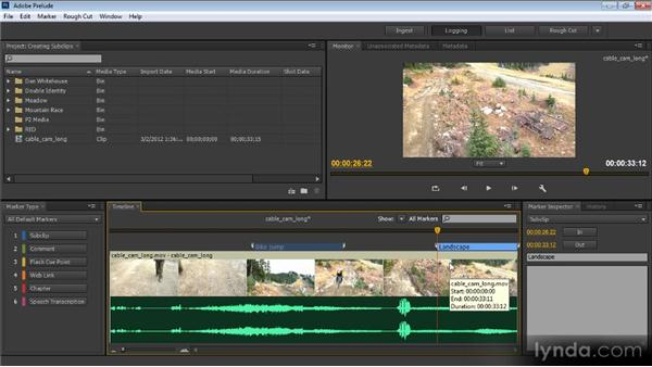 Creating subclips: Prelude CS6 Workshop