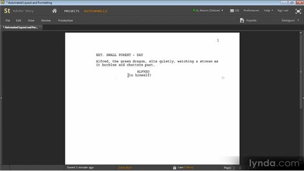 Automated layout and formatting: Adobe Story Workshop