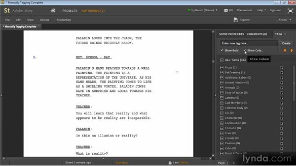 Manually tagging scripts: Adobe Story Workshop