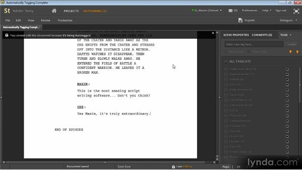 Automatically tagging scripts: Adobe Story Workshop