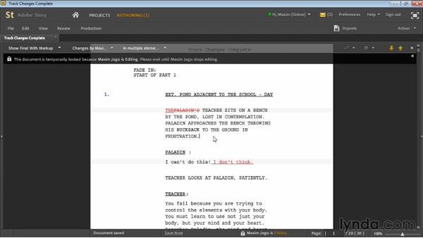 Track changes: Adobe Story Workshop