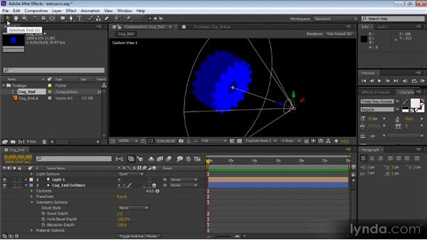 Extruding 3D text and shapes and modifying geometry options: After Effects CS6 New Features Overview