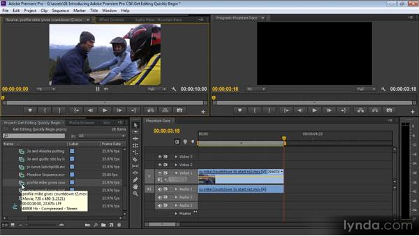 Editing quickly with Premiere Pro CS6: Up and Running with Premiere Pro CS6