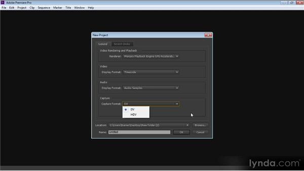 Creating a new project: Up and Running with Premiere Pro CS6