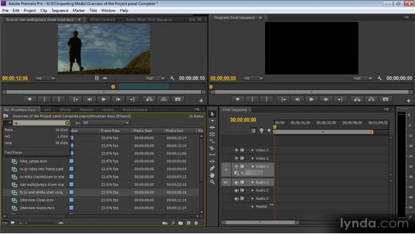 Overview of the Project panel: Up and Running with Premiere Pro CS6